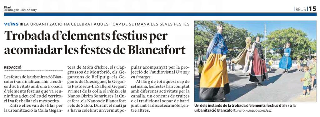 Les festes de Blancafort al Diari de Tarragona