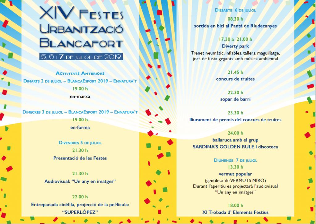 Festes de Blancafort 2019 – Programa